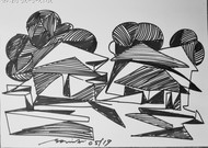 Song of nature by Soumitra Dutta, Illustration Drawing, Ink on Paper, Gray color