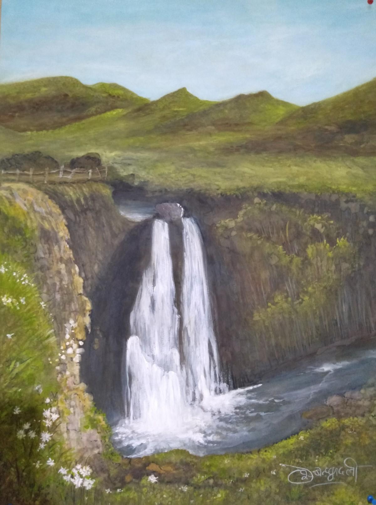 Spekes Waterfall by Deshbandhu Jadli, Impressionism Painting, Watercolor on Paper, Brown color