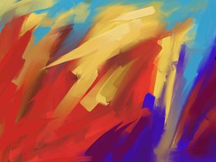 Red Yellow Strokes Digital Print by The Print Studio,Abstract