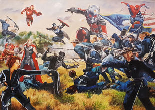 Avengers civil war by Sanuj Birla, Pop Art Painting, Oil on Canvas, Brown color