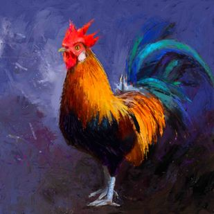 Rooster - 10 Digital Print by The Print Studio,Digital