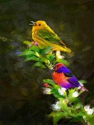 Yellow Bird Digital Print by The Print Studio,Expressionism