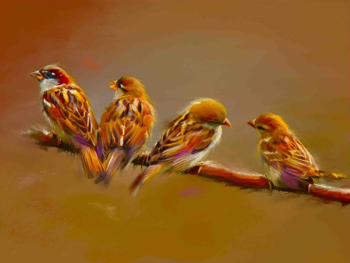 Robins in a Row Digital Print by The Print Studio,Expressionism