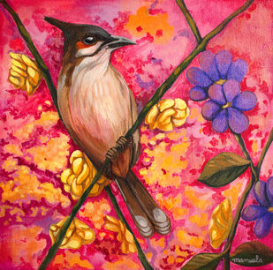 Spring by Manuela Gomes, Expressionism Painting, Acrylic on Canvas, Pink color