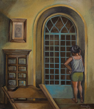 Waiting for you to get home by Manuela Gomes, Expressionism Painting, Acrylic on Canvas, Brown color