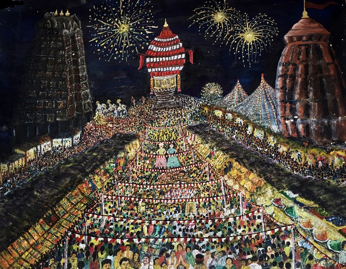 Fair in Indian Temples by S.SHIVAPRASAD, Expressionism Painting, Acrylic on Paper, Brown color