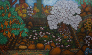 Memories of Krishna baavi(well) by Vallery Puri, Expressionism Painting, Oil on Canvas, Brown color