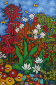 Nesting by Vallery Puri, Expressionism Painting, Oil on Canvas, Green color