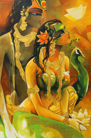 Radhakrishna-19-2 by Rajeshwar Nyalapalli, Traditional Painting, Acrylic on Canvas, Brown color