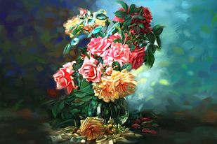 Still Life with Flowers - 07 Digital Print by The Print Studio,Digital