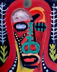 Portrait of Opalina by Manoj Kumar Negi, Fantasy Painting, Tempera on Paper, Blue color