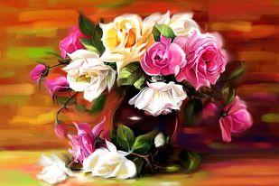 Still Life with Flowers - 18 Digital Print by The Print Studio,Digital