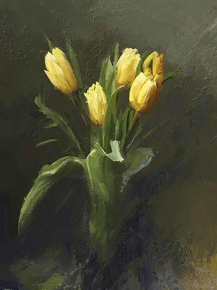 Yellow Tulips Digital Print by The Print Studio,Digital
