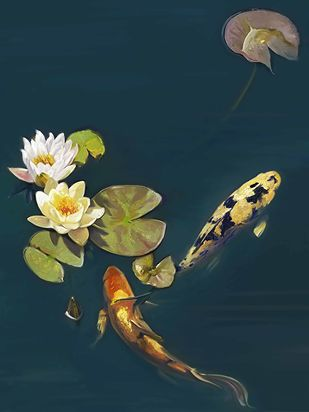 Lilly in pond with Fish Digital Print by The Print Studio,Digital