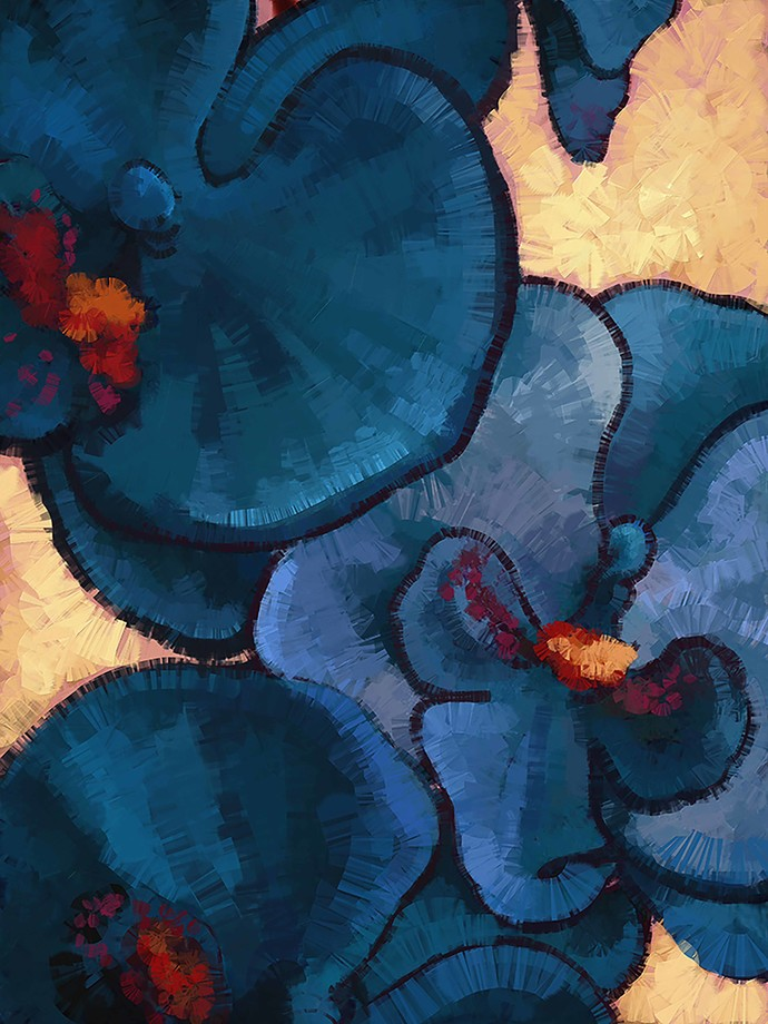 Abstract Blue Flower - 73 Digital Print by The Print Studio,Expressionism