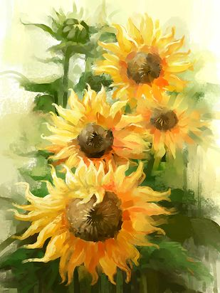 Sunflowers - 91 Digital Print by The Print Studio,Digital