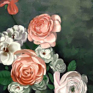 Vintage Roses - 102 Digital Print by The Print Studio,Digital