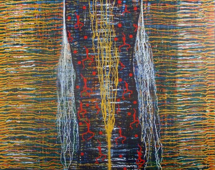 Rhythm of Life by Raja Rambabu, Abstract Painting, Acrylic on Canvas,