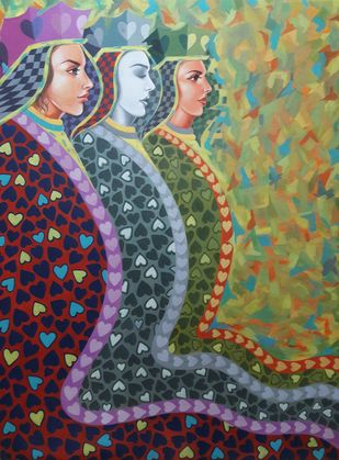Admiring 2 by Arvind, Fantasy Painting, Acrylic on Canvas, Green color