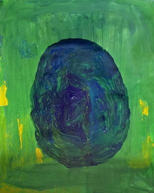 Obstruct by Rupinder kaur, Abstract Painting, Acrylic on Paper, Green color