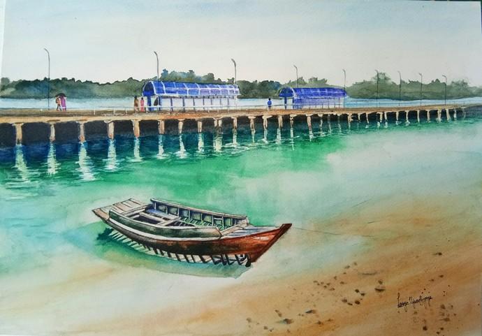 Andaman 2: Resting by the turquoise waters, Neil Island Digital Print by Lasya Upadhyaya,Impressionism