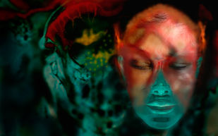 Silence in my mind 3 by Bula Bhattacharya, Digital Digital Art, Digital Print on Archival Paper, Blue color