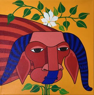 Untitled by Thota Laxminarayana, Decorative Painting, Acrylic on Canvas, Brown color