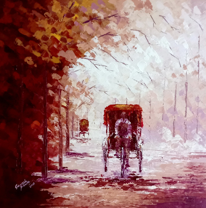 Foggy Day by Ganesh Panda, Expressionism Painting, Acrylic on Canvas, Brown color