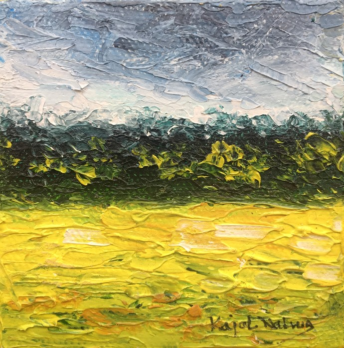 Miniature Landscapes (1)(2)(3) by Kajal Nalwa, Expressionism Painting, Oil on Canvas, Green color