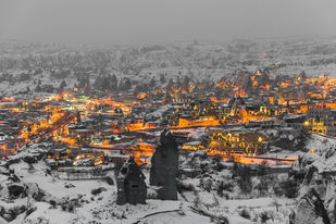 Lightened Village by Amit More, Image Photography, Digital Print on Archival Paper, Gray color