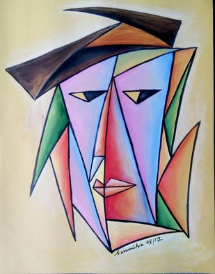 Aspect by Soumitra Dutta, Illustration Painting, Acrylic on Paper, Beige color