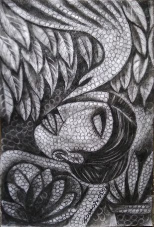 Intimacy by Soumitra Dutta, Illustration Drawing, Charcoal on Paper, Gray color