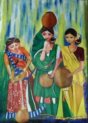Water contribution in summer by Rakhi Bose, Impressionism Painting, Acrylic on Canvas, Green color