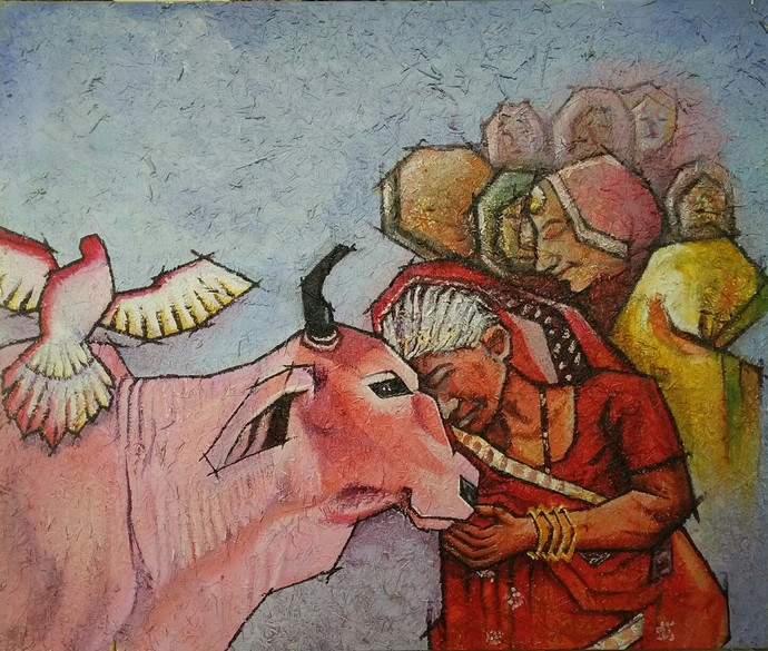 Spirituality by Shatakshi Sharma , Expressionism Painting, Acrylic on Canvas, Brown color