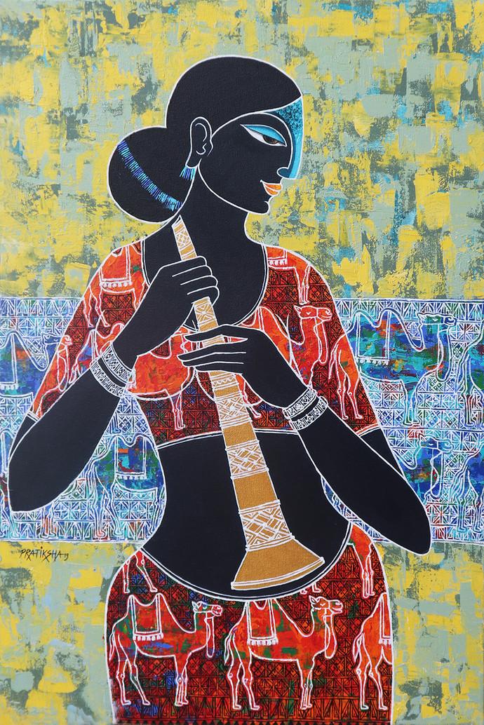 Celestial beauty Sursundari by Pratiksha Bothe, Decorative Painting, Acrylic on Canvas, Beige color