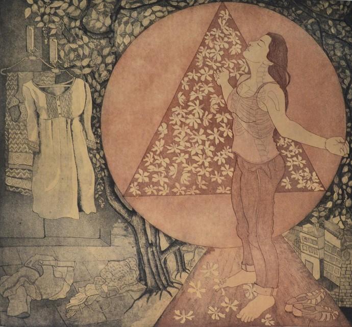 Take a deep breath by Rajashree Nayak, Expressionism Printmaking, Etching and Aquatint, Brown color