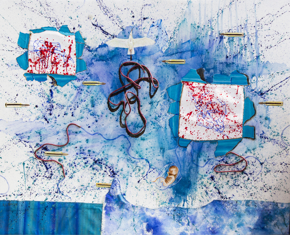 An age of our own making 7 by Kurchi Dasgupta, Conceptual Painting, Mixed Media on Canvas, Cyan color