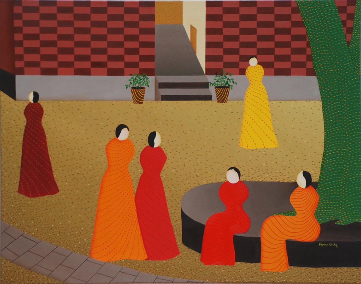 The women's world Digital Print by Hemavathy Guha,Expressionism