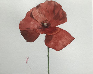 Poppy by Nisha Sehjpal, Impressionism Painting, Watercolor on Paper, Gray color