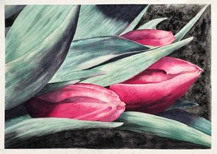 Tulip Fever by Nisha Sehjpal, Impressionism Painting, Watercolor on Paper, Gray color