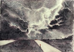 Lightening Sky by Nisha Sehjpal, Impressionism Painting, Mixed Media on Paper, Gray color