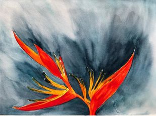 Bird of Paradise by Nisha Sehjpal, Impressionism Painting, Watercolor on Paper, Green color