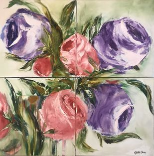 Semi abstract Roses by Gita Jain, Impressionism Painting, Oil & Acrylic on Canvas, Brown color