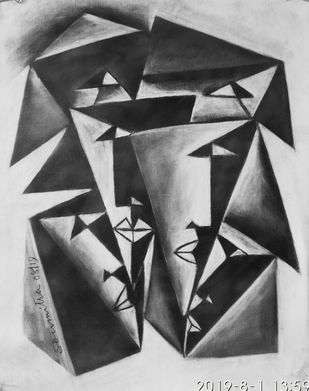 Aspect by Soumitra Dutta, Geometrical Painting, Charcoal on Canvas, Gray color