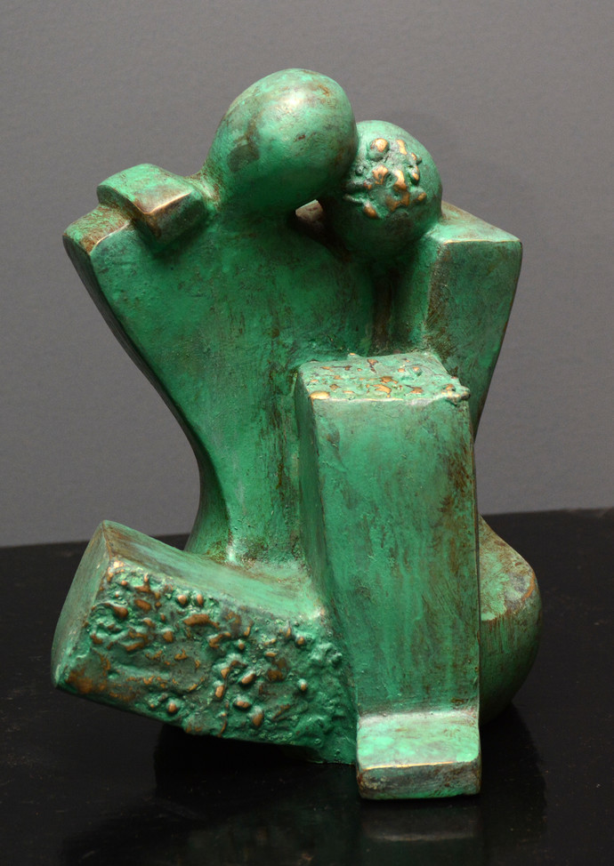 Untitled by Sheela Chamariya, Art Deco Sculpture | 3D, Bronze, Green color
