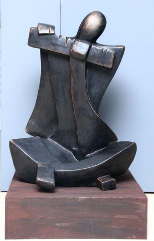 Untitled by Sheela Chamariya, Art Deco Sculpture | 3D, Bronze, Cyan color
