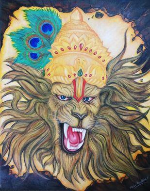 Lord Narsimha by Pratibha Jadhav, Expressionism Painting, Acrylic on Canvas, Makara color