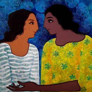 Conversation by Monica Ghule, Expressionism Painting, Acrylic on Canvas, Green color
