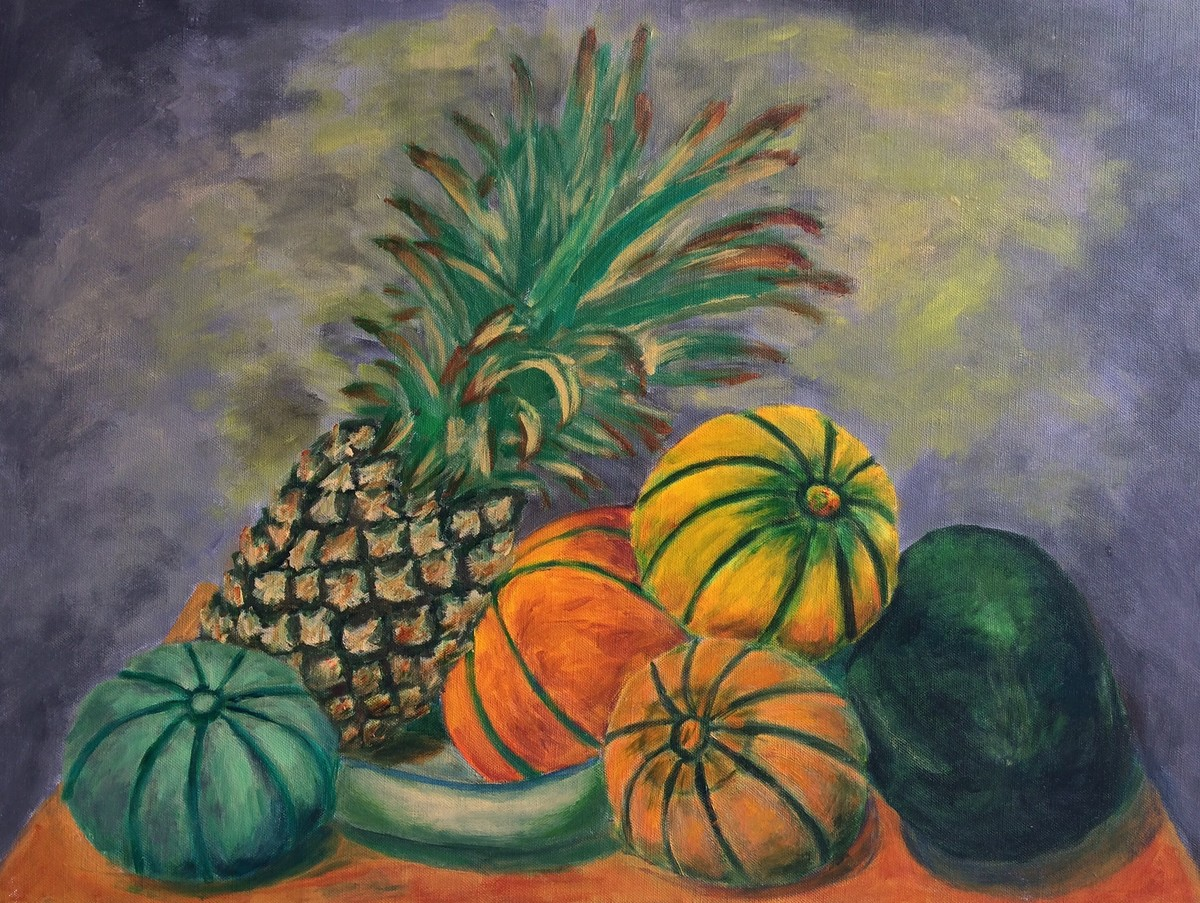 Still life with Pineapple, Muskmelons and Watermelon by Vikram Malik, Impressionism Painting, Acrylic on Canvas, Brown color