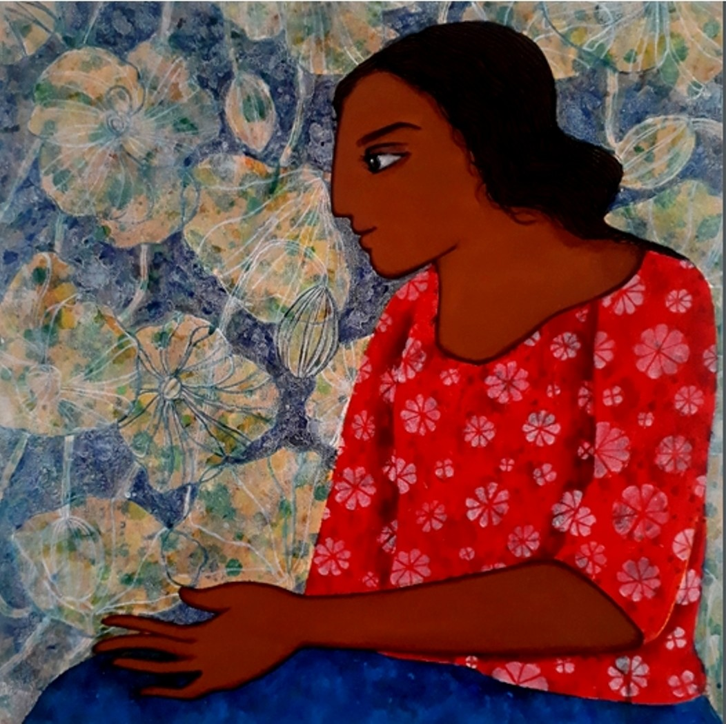 sister by Monica Ghule, Expressionism Painting, Acrylic on Canvas, Brown color